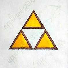 Zelda Triforce Inspired Simple Triangle Trio Applique Embroidery Design DOWNLOAD for DIY projects, from Designed by Geeks. Use any embroidery machine - Brother, Viking, Janome, Bernina, Pfaff, Singer - to stitch this design.  This is an appliqué design of a Zelda triforce inspired trio of triangles.