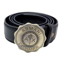 Armani Multiangular Plaque Buckle Black Leather Belt AB3865-24,$85