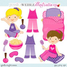 Girls Night Over Cute Digital Clipart - Commercial Use Ok - Slumber Party Clipart - Slumber Party Graphics