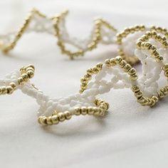 Beaded Bracelet Gold and White Ruffle Bracelet by beadedwire, $16.00