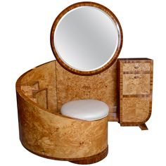 French Art Deco Vanity circa 1930s - birds-eye maple Rare! Currently available at $32,000.00