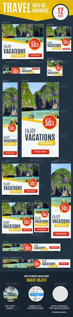 Multipurpose Travel  Vacations Web Ad Banners - Banners  Ads Web Elements