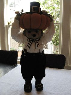 "Apple Whimseys ""Mr. Pumpkin Head"" - no hang tag, some damage to bird. #AppleWhimseys #Thanksgiving"