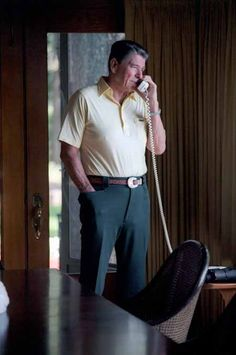 President Ronald Reagan speaking with Nancy Reagan on the telephone from Camp David. 8/15/82.