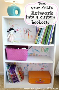 Great way to display your child's artwork. Line the back of shelving with it!