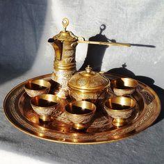 Turkish Coffee Set Middle East Rare Cairoware Mamluk copper silver Antique 19thC Islamic