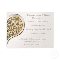 """Champagne Lace (Post-Wedding Reception Invitation)   Glimpses of a silvery heart with delicate, gold lace ornamentation is printed on heavy-weight paper with a champagne colored metallic finish for this unique, original design by Leslie Sigal Javorek,  provides an elegant, sophisticated look for all of your wedding stationary needs. This 5.5x4.25"""" Coordinating cards, postage & more @ http://www.zazzle.com/themarryingtype/champagne+lace+gifts?rf=238155573613991097"""