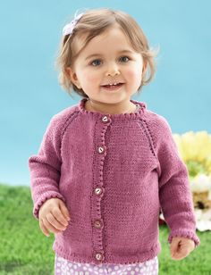 """Look Mom, No Seams"" Cardigan - This seamless cardigan is a great choice for stylish babies and toddlers. Shown in Bernat Cotton-ish by Vickie Howell."