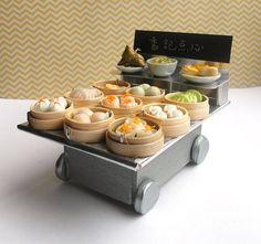 Miniature Dim Sum Trolley, Dollhouse Yum Cha, Chinese Food, Asian Food. $80.00, via Etsy.