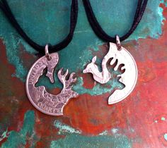 Buck and Doe Couples Necklaces or Keychains LOVE by PennyPuzzler, $35.00