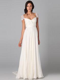 A-line/Princess Short Sleeves Beading Sweep/Brush Train Square Chiffon Dress