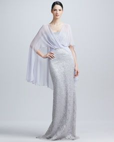 Jersey Cape Strapless Sequined Gown for mother of the bride