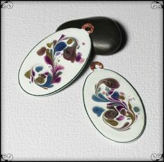 Lavender Fields... Handmade Torch Fired Enamel Charms Beads Glass Oval Copper Jewelry Earring Pair Purple Violet Sage Olive Green…