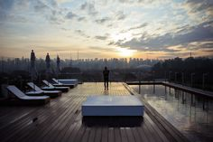 A brazilian sunrise on the roof top terrace of Unique Hotel in Sao Paulo