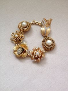 Gold Pearl and Rhinestone Bridal Bracelet by ChicMaddiesBoutique