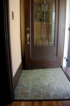 Handmade Tile Flooring - Mercury Mosaics - I see a front door floor redo in SuperMan's future! Craftsman Tile, Craftsman Kitchen, Craftsman Houses, Craftsman Interior, Entryway Flooring, Tile Flooring, Tile Entryway, Tiled Floors, Kitchen Flooring