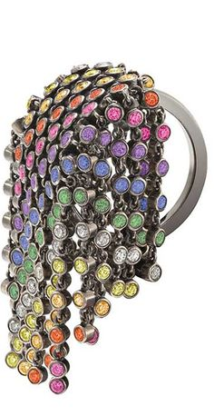 """Solange Azagury-Partridge Rainbow Fringe ring with coloured diamonds and sapphires."""