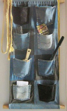 Jeans Wall Pockets by on DeviantArt - Jeans Wall Pockets by on DeviantArt Dont throw away old jeans that are torn. I plan on making this for the tack room of the horse trailer! Diy Jeans, Diy With Jeans, Jean Crafts, Denim Crafts, Fabric Crafts, Sewing Crafts, Sewing Projects, Artisanats Denim, Jean Diy