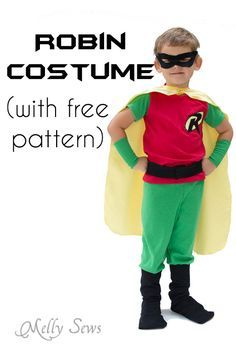 Robin Costume DIY - how to make a Batman and Robin costume for Halloween - Melly Sews