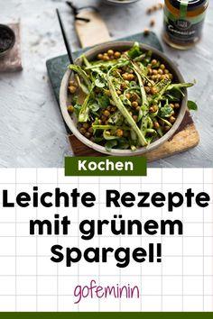 Grüner Spargel: 4 ausgefallene, aber leichte Rezepte #spargelrezepte #grünerspargel Sprouts, Vegetables, Blog, Recipes, Simple Recipes, Lunch Bags, Light Recipes, Low Carb Food, Rezepte