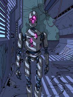 robot art sci fi Sci-Fi Friday Robot Night Walker (Alex S Martin [OC] : Cyberpunk Cyberpunk Aesthetic, Arte Cyberpunk, Arte Robot, Robot Art, Arte Sci Fi, Sci Fi Art, Concept Art Landscape, Futuristic Robot, Robot Illustration