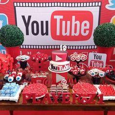 Youtube Theme, Youtube Party, Birthday Party Images, Superhero Birthday Party, Birthday Ideas, 12th Birthday Cake, 13th Birthday Parties, Youtube Birthday, Bolo Youtube