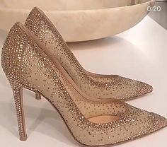 Bridal Shoes For The Bride Flats Bling Wedding Shoes, Bling Heels, Prom Heels, Wedding Heels, Bride Shoes, Bling Bling, Sparkle Shoes, Gold Prom Shoes, Gold Heels