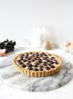 Baked Grape and Custard Tart #glutenfree #sugarfree #dairyfree #paleo