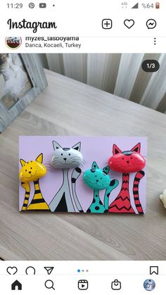 Stone Crafts, Rock Crafts, Clay Crafts, Fun Crafts, Crafts For Kids, Paper Crafts, Rock Painting Patterns, Rock Painting Ideas Easy, Rock Painting Designs