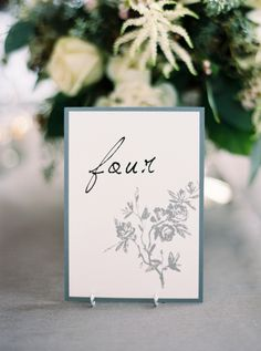 Calligraphy and floral printed wedding table numbers: http://www.stylemepretty.com/2015/11/24/elegant-fall-wedding-in-an-old-textile-factory/ | Photography: Kate Ignatoskwi - http://www.kateignatowski.com/