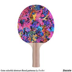 Shop Cute colorful abstract floral patterns Ping-Pong paddle created by ForArt. Ping Pong Table Tennis, Ping Pong Paddles, Floral Patterns, Colorful, Abstract, Cute, Design, Floral Prints, Summary