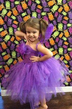 Purple Princess Fairy Tulle Tutu Dress-up Halloween Costume Flower Girl Dress Photo Prop Wings Disney Children Toddler Infant Custom Crochet