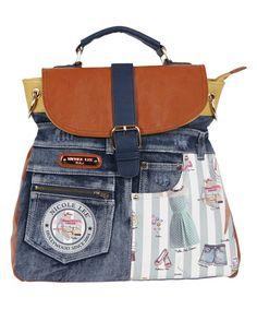 Doll House Mint Wanda Denim Convertible Backpack Handbag by Nicole Lee #zulily #zulilyfinds