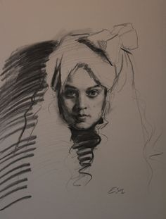 "Teresa Oaxaca ""White Bow"" 18x26"", charcoal with white chalk on Canson paper"