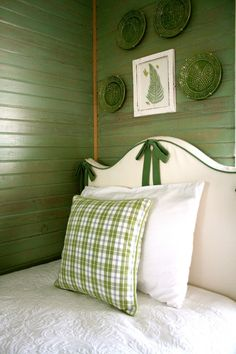 green!  and a very cute headboard treatment for girl's room