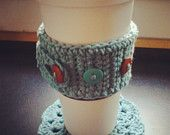 Cup Cozy and Mug Rug Set, Adjustable cup cozy and coaster, Cotton Cozy with Buttons, Handmade, Crocheted Cozy, Crocheted Coaster