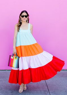 Jennifer Lake Style Charade in a stripe MDS Stripes Wyatt Dress, Sophie Hulme rainbow stripe tote, and Loeffler Randall tassel sandals at an LA pink wall I Dress, Dress Outfits, Casual Dresses, Girls Dresses, Resort Dresses, Kids Frocks, Frock Design, Cute Girl Outfits, Colorblock Dress