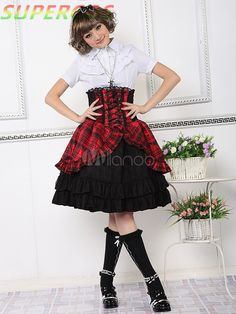 >> Click to Buy << Free shipping! New Arrivals! High Quality! Red Lace-Up Short Sleeves Cotton Blended Lolita Outfits Dress #Affiliate