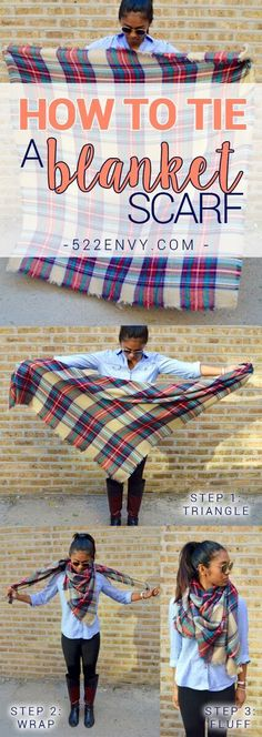 How to wear a blanket scarf: classic blanket edition! Check out other great ways to tie this plaid blanket scarf HERE!
