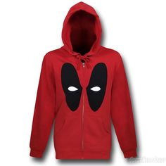 Images of Deadpool Mask Zip-Up Red Hoodie