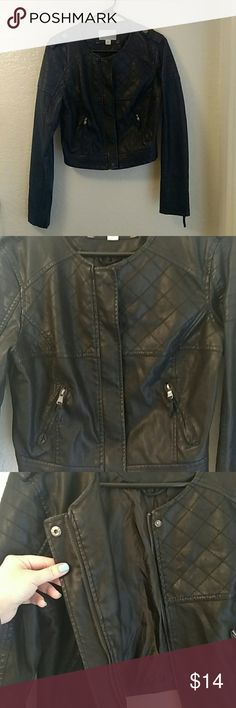 Black Leather Jacket Black leather jacket from xhilaration. Size M. Like new. Worn only once. No flaws. Has zipper pockets. Zips in front and has snap buttons (top of zipper and bottom of zipper). Xhilaration Jackets & Coats