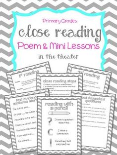 Close Reading Poem & Mini Lessons