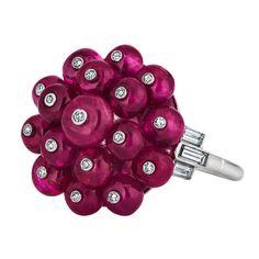 Art Deco Ruby and Diamond Bead Ring | 1stdibs.com