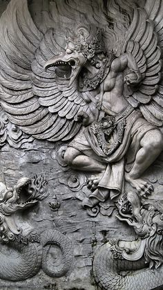 The Garuda is a large bird-like creature, or humanoid bird that appears in both Hinduism and Buddhism. Garuda is the mount (vahana) of the Lord Vishnu. Ancient Aliens, Ancient Art, Statues, Indonesian Art, Art Sculpture, Hindu Art, Buddhist Art, Gods And Goddesses, Religious Art