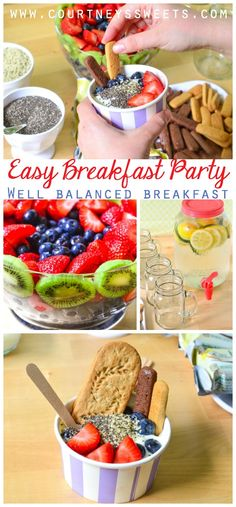 Easy Breakfast Party - Well balanced breakfast. Yogurt Bowls with fresh fruit, breakfast biscuits, dippers, cucumber lemon water and gifts to go! @Walmart #ad #DayMaid