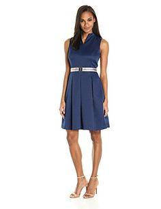 Ellen Tracy Women's Pique Fit and Flare Dress with Grosgrain Belt - http://www.darrenblogs.com/2017/04/ellen-tracy-womens-pique-fit-and-flare-dress-with-grosgrain-belt/