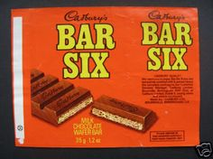 Bar Six - remember these well, every Friday my Dad would bring us a chocolate bar home from work, pay day! And I would often ask for a Bar Six 1970s Childhood, My Childhood Memories, Childhood Toys, Sweet Memories, Old Sweets, Vintage Sweets, Retro Sweets, Old Fashioned Sweets, Cairo