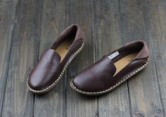Handmade Brown Color Shoes for WomenOxford Shoes Flat by HerHis
