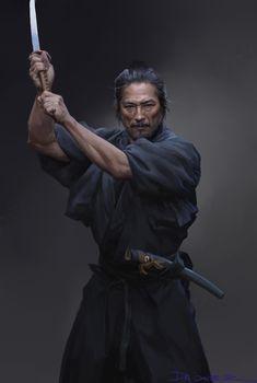 ArtStation - SAMURAI, dannis duan black and white sketch samurai ninja Samurai Poses, Ronin Samurai, Samurai Warrior, Fantasy Samurai, Japanese Art Samurai, Japanese Warrior, Arte Ninja, Ninja Art, Katana