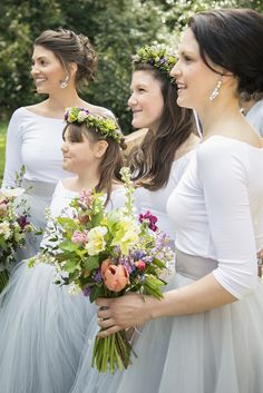 Bridesmaids Grey Tulle Skirts Flowers Flower Crowns Romantic Country Tipi Wedding http://jodiecoolingphotography.com/